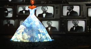 projected wedding dress