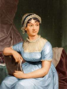 A portrait of Jane Austen, based on a watercolor by Jane's sister, Cassandra.
