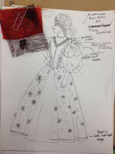 A rough rendering of a ball gown costume, featuring edits and updates