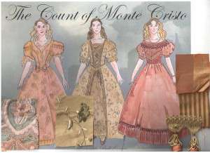 Three ball gowns, featuring swatches of the fabric used in the dresses