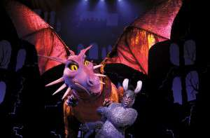 Puppets can be quite large; and the dragon puppet from Shrek the Musical, performed at the cadillac Theatre is no exception.