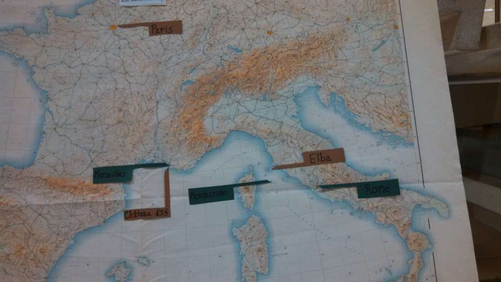A close-up of the map in the lobby display.